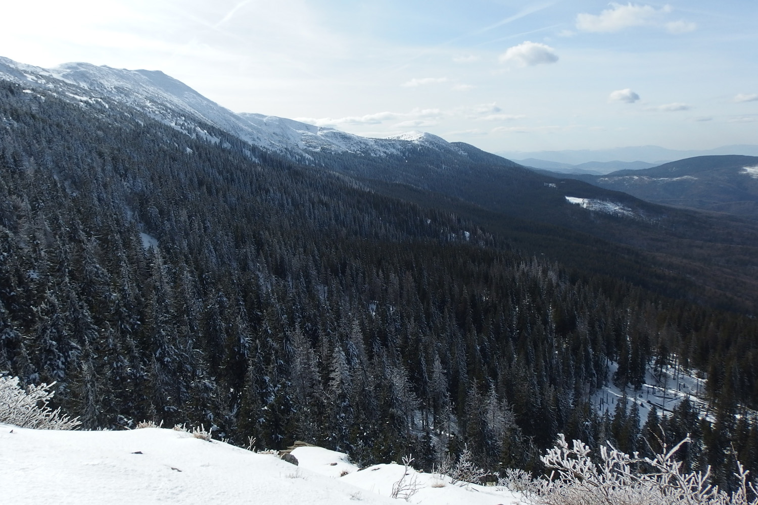 babia góra national park in poland in winter