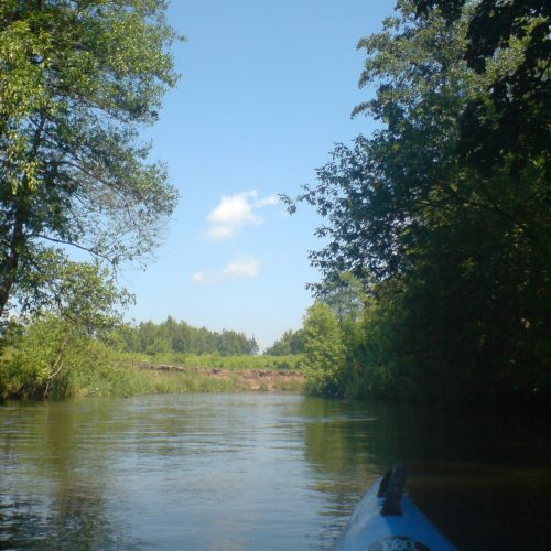 river świder in mazovia poland, kayak