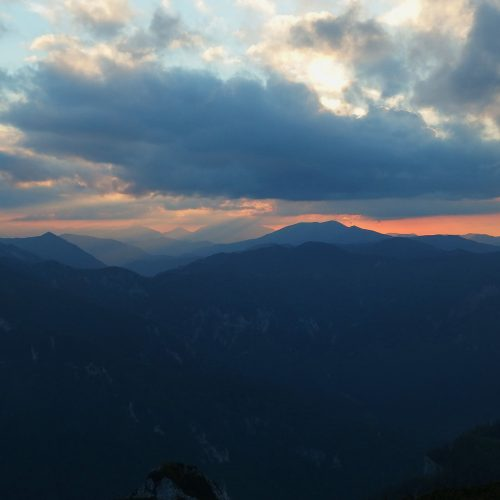 raxalpe mountains in austria - landscape sunset