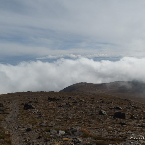 sierra nevada mountains in spain - landscape and clouds, hiking mulhacen