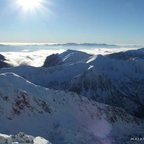 winter landscape in tatra mountains national park - snow and sun