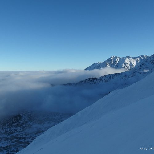 winter landscape in tatra mountains national park - over clouds