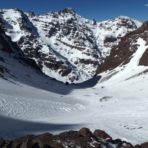 high atlas mountains in morocco - winter and snow