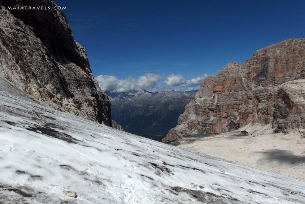 Vedretta degli Sfulmini glacier in brenta dolomites