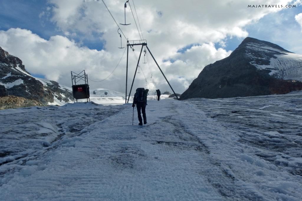 hiking to breithorn, ski lift