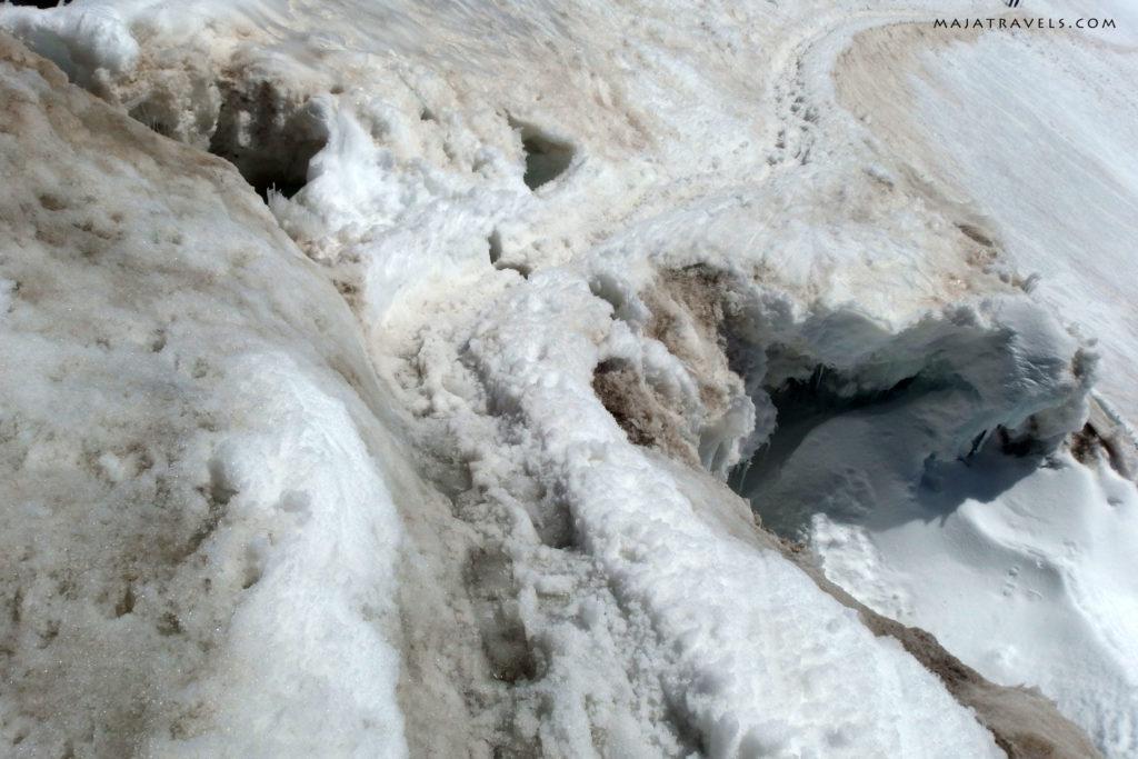 szczelina w lodowcu breithorn