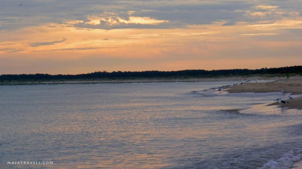 plaża w sobieszewie o poranku