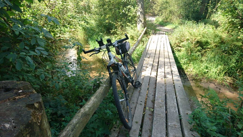 bicycle route in poland by river rządza